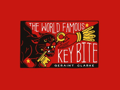 Key Bite Packaging Illustration wild cat panther circus neo trad packaging magic trick lettering ink hand lettering retro bold vintage typography hand drawn illustration