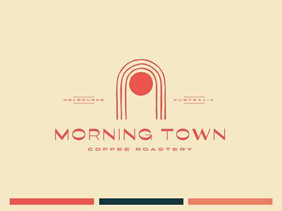 Morning Town Coffee Logo doorway sun minimal australia coffeeshop branding retro logo bold typography hand drawn illustration