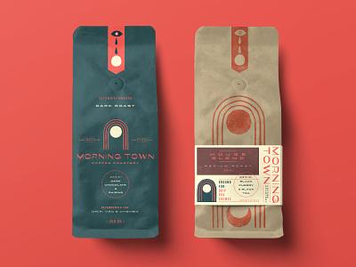 Morning Town Coffee Bags australia packaging design hand drawn branding retro logo bold vintage typography illustration coffee bags coffee packaging