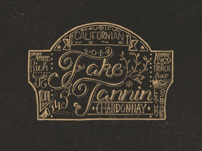 Fake Tannin Chardonnay Wine Label