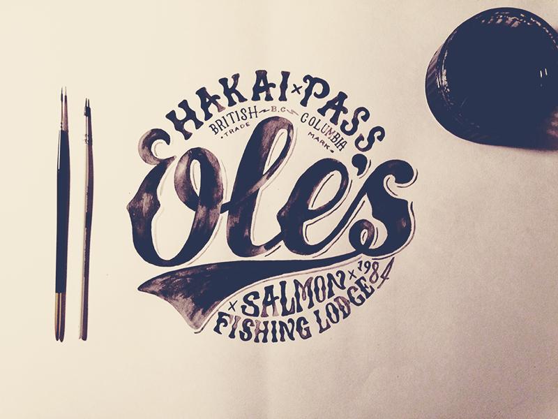 Ole's Logo illustration typography hand drawn hand lettering paint type logo fishing