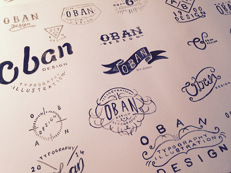 New Logo Ideas typography logo wip lettering original typeface oban illustration sketch concepts