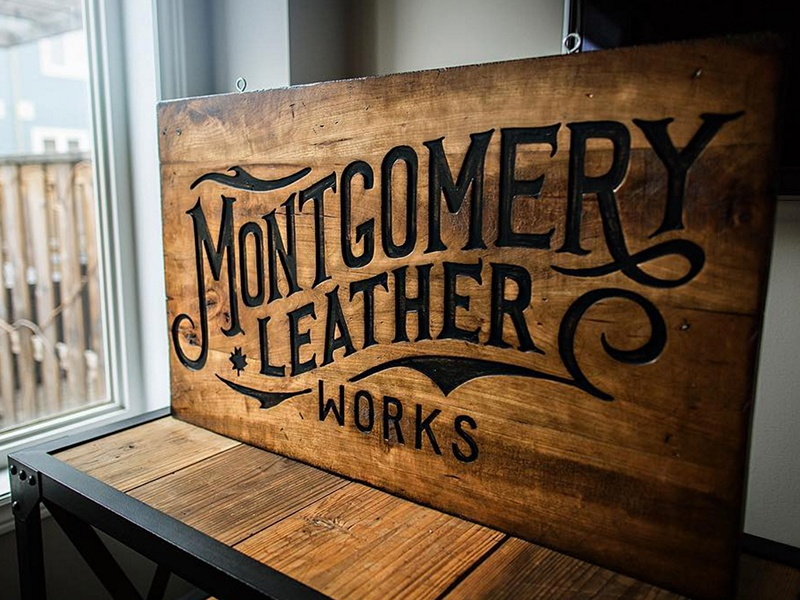 Montgomery Leather Works Sign wood leather hand lettering logo typography type illustration lettering