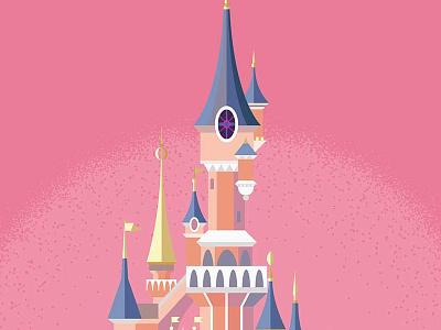 Paris Disney Castle minimal geometric pink disneyland paris disney castle colourful bold illustration