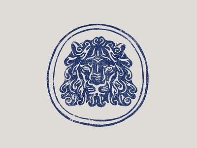 PRIDE crest animal lion black work line stamp hand drawn tattoo bold illustration