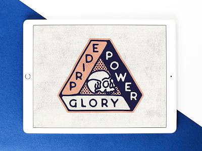 • PRIDE • POWER • GLORY • crest glory power pride death skull black work line hand drawn tattoo bold illustration