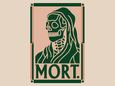 MORT. poster skull death mort black work line hand drawn tattoo bold illustration