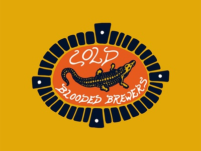 Cold Blooded Brewery vintage retro brewery beer brewers logo crocodile black work hand drawn tattoo bold illustration