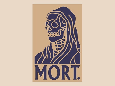 Mort. skeleton mort death skull crest badge logo black work hand drawn tattoo bold illustration