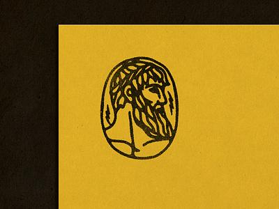 Zeus stamp logo black work thunder mythological greek god retro ink bold vintage hand drawn illustration