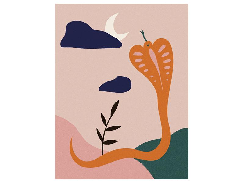 Howlin' Cobra simple vintage minimal mythical moon cobra snake design vector hand drawn illustration