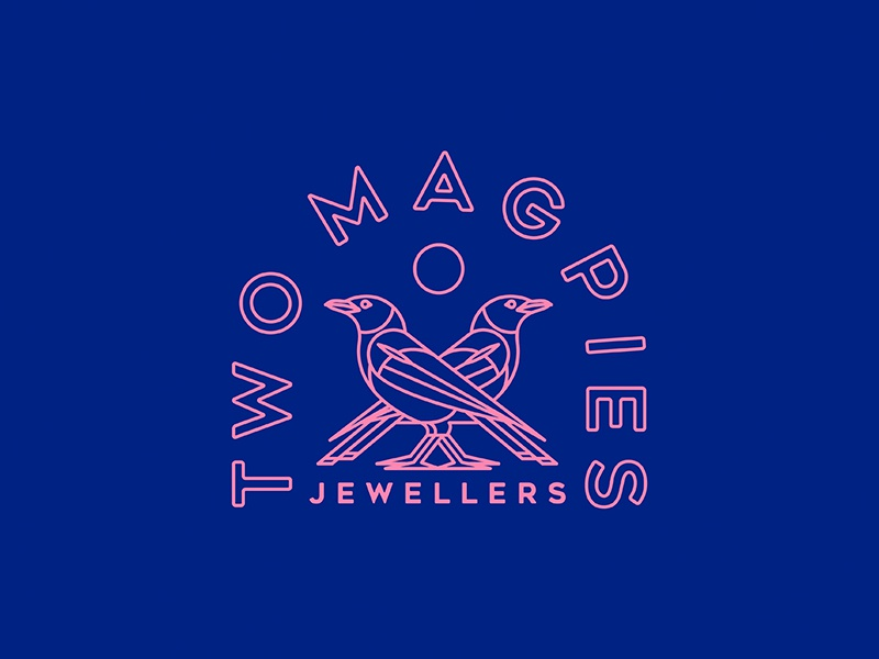 Two Magpies icon branding vector design bold concept jewellery magpies line art logo line art illustration typography logo