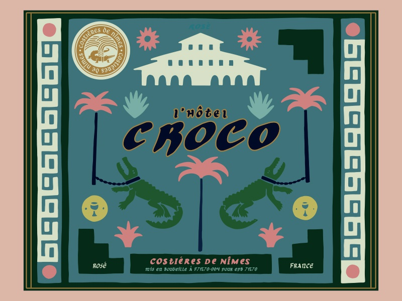 L'hotel Croco Wine Label 1 vector lettering packaging label wine retro hand lettering bold logo vintage hand drawn typography illustration