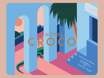 L'hotel Croco Wine Label geometric minimal crocodile retro type logo branding wine bottle packaging winery vineyard france nimes vector bold typography illustration