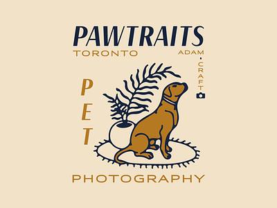 Pawtraits brand design branding pet dog toronto photography retro typography hand drawn vector logo illustration