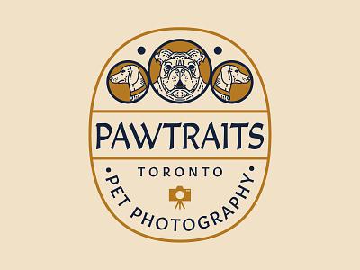Pawtraits Logo Concept branding vector vintage linework pet wiener dog bulldog toronto photography retro logo hand drawn typography illustration