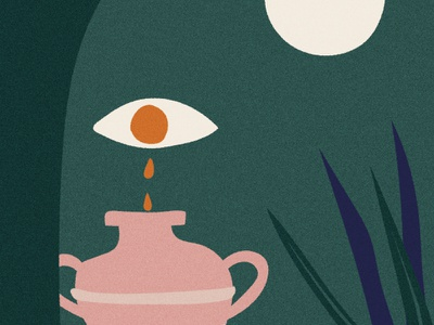 Sorrow minimal weep crypto eye vase moon myth greek vector retro bold vintage hand drawn illustration