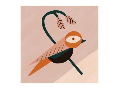 Little Bird branch floral bird simple retro vector bold vintage hand drawn illustration