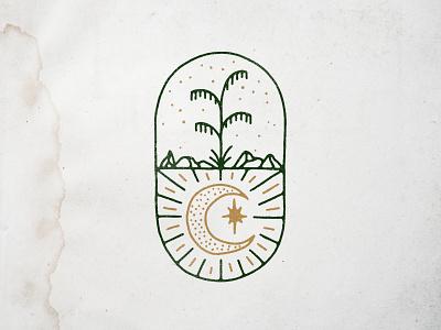 Palm & Moon branding star retro minimal mountains neotraditional bold vintage hand drawn illustration