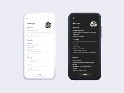 Settings art daily 100 challenge typography profile flat minimal ux ui design app