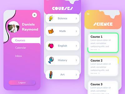 Summer School App school app courses learning school profile typography user illustration minimal app ux ui design