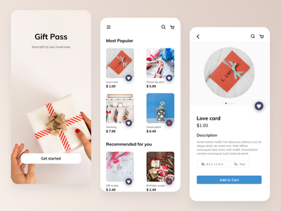 Gift Pass - Send gifts to your loved ones simple clean interface simple delivery buy ecommerce gift user minimal app ux ui design