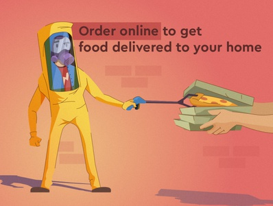 Order online delivery service character delivery app branding design coronavirus biohazard pizza delivery virus corona illustraion web vector flat illustration
