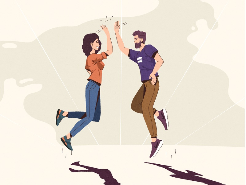 High five illustration art vintage jumping characters 2d web flat high five character design illustration