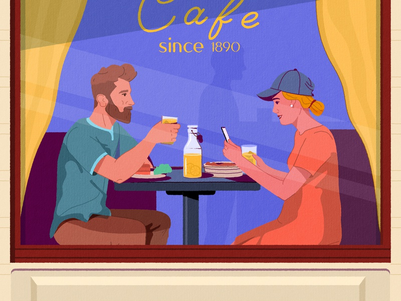 Dinner design 2d vintage portrait date couple illustration character couple illustration