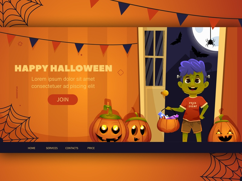 trick or treat vector webdesign flat template landing web pumpkin happy halloween holiday illustration cartoon character halloween design cartoon character trickortreat trick or treat halloween