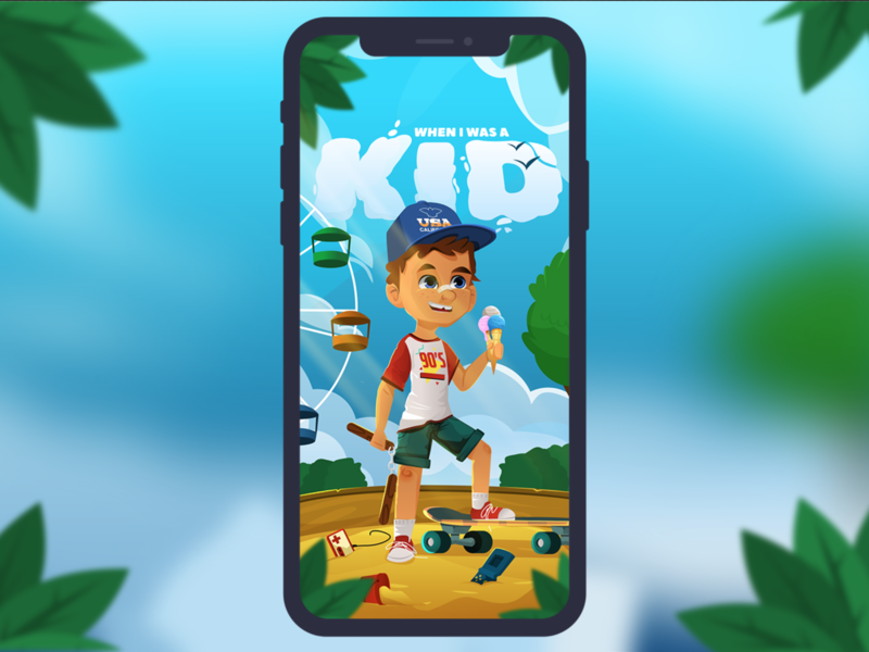 When I Was A Kid splash screen casual mobile game illustration child kid