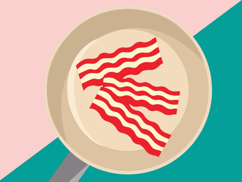 Bringing home the bacon  color vector illustrator illustration