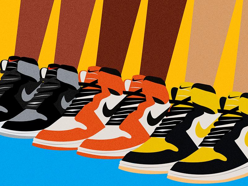 Sneaker Love jordan nike sneakers color vector illustrator illustration