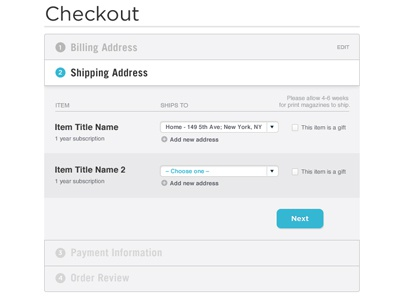 Tabbed Ecommerce Check Out System checkout ecommerce website shipping ui ux