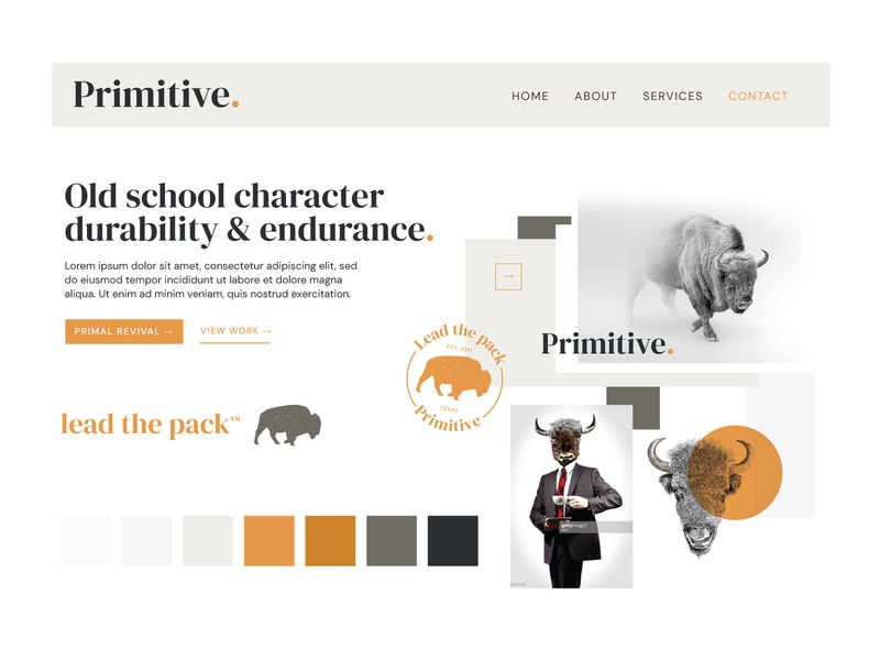 Primitive Agency Moodboard moodboard primitives orange badge stylescape logo branding utah buffalo styleguide website agency