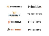 Primitive Logo Options agency branding design logotype midwest minimal bison horns logo branding