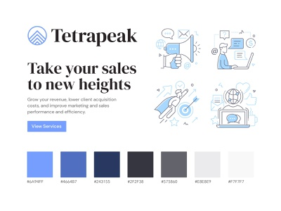 Tetrapeak Brand Identity blue logo design logo branding design brand identity consulting sales agency mountain branding