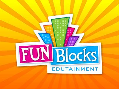 Fun Blocks Edutainment Logo child kids blocks branding logo starburst city colorful fun children