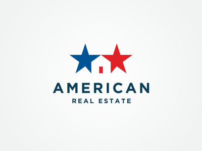American Real Estate Logo usa branding icon negative space house real estate america star american