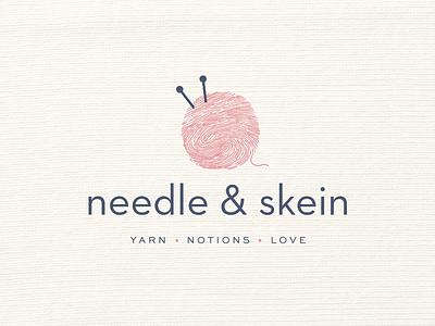Needle & Skein Logo & Branding branding logo ball needle fingerprint skein knitting knit thread wool yarn