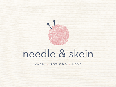 Needle & Skein Logo & Branding branding logo ball needle fingerprint skein knitting knit thread wool yarn