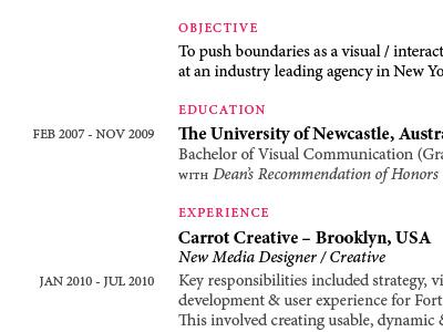 Resume / CV minion pro resume cv elegant