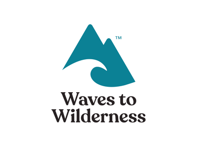 Waves To Wilderness Logo negative space typography logo design fashion clothing recoleta branding logo mountain wave