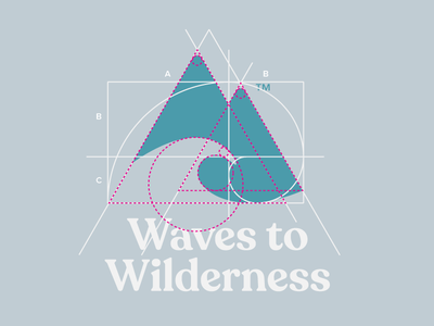 Logo Grid using Golden Ratio for Waves to Wilderness fashion goldenratio blueprint branding logo logo grid logogrid fibonacci golden ratio