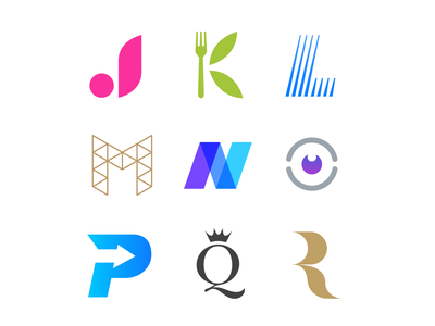 Alphabet Logos Summary (2 of 3) logo design r q p branding logo o n m l k j