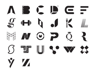 26 Alphabet Logos in Black