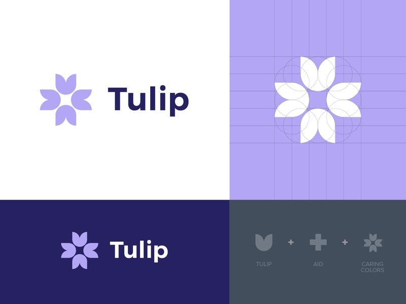 Tulip Logo Construction & Meaning branding design brand identity identity styleguide tulip branding flower grid logo grid logo design logo