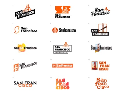 San Francisco Logo Concepts bright san fransisco travel agency board tourism identity branding logo logo design sf golden gate bridge san fran san francisco