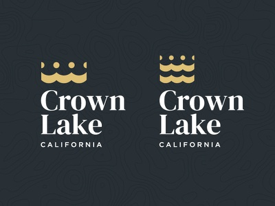 Crown Lake Logo topography branding logo design logo california sea ocean water queen king lake crown