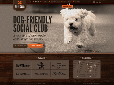 Ruff Club Web Site dog website ball brown map ux ui